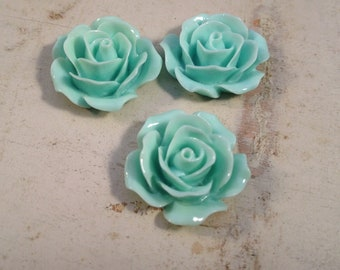 6 Pcs Light Aqua Blue Resin Flowers Vintage Style Plastic Rose Cabochon flowers Resin Roses 18x18x8mm