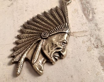 Indian Head Charms Large Chief Charm Native American Charms Head Dress Antique Bronze Vintage Style Pendant  Jewelry Supplies (BA151)