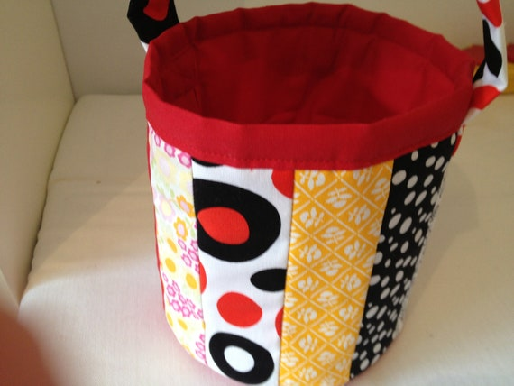 Carry All Pail - Patchwork Pail - Sewing Scrap hold all - Carry All Basket - Childrens Carry Pot - Scrap Carry All - Patchwork Hold All