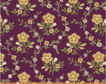 Crazy for Shelburne Collection - Tossed Trailing Flowers - Wine -Shelburne Museum -Windham Fabrics