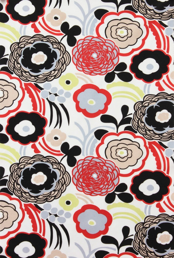 Alexander Henry Fabric - Mocca -  Fashionista Collection - White - Floral Fabric