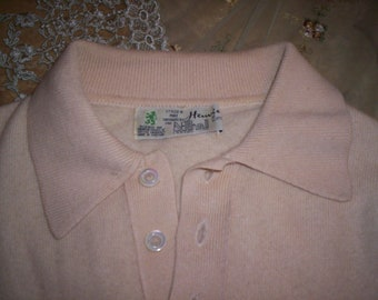 Vintage N.Peal 100% Cashmere Pale Yellow L.S. Polo Sweater Mens Med., Ca. 1980's