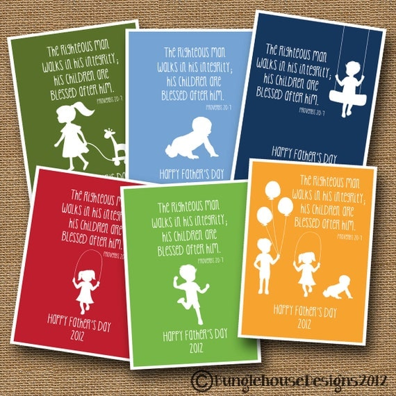 Printable Father's Day Card | Children's Silhouette Card | DIY PRINTABLE | Religious, Christian, Scripture, Bible Verse Card For Dads