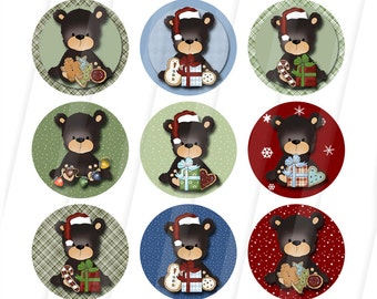Digital Printable Christmas Bears one inch collage images - Instant Download