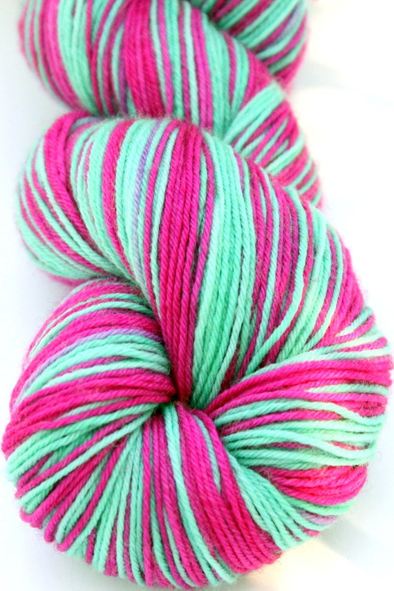 """Self Striping Sock Yarn, Superwash Merino and Nylon 75/25 Fingering Weight, in """"Zoe"""""""