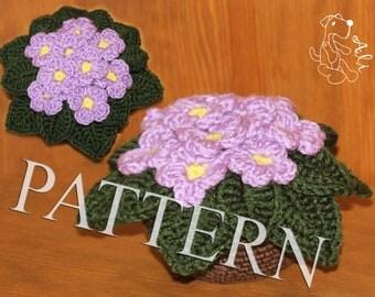 African violet - crochet pattern in PDF