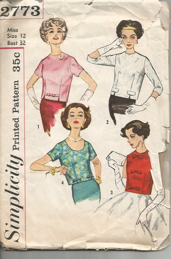 Vintage Sewing Pattern 1950s Blouse Pattern Simplicity 2773 32 Bust