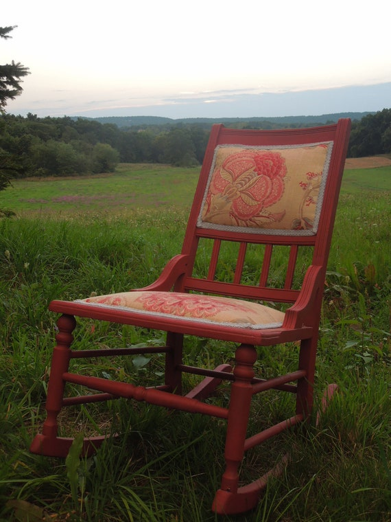 Upholstered Red Rocking Chair
