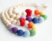 Mother and daughter necklace set - rainbow colors, multicolor  - mom and girl necklace set - rainbow necklace - crochet bead necklace
