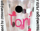 Great Gift Idea Personalized Tumbler Cups. Choose your own font and polka dot colors.