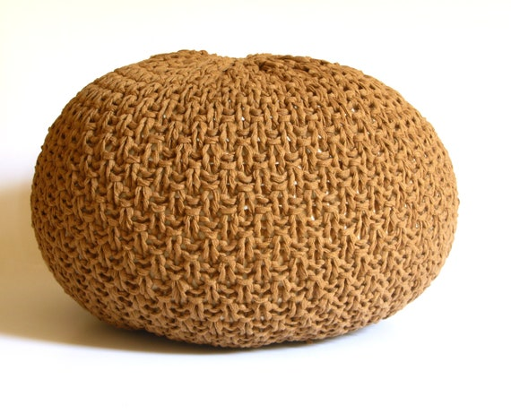 Knitted Pouf Ottoman Foot Stool Floor Pillow By