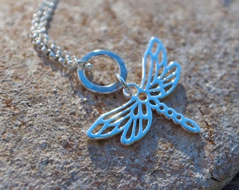 petite dragonfly sterling silver necklace