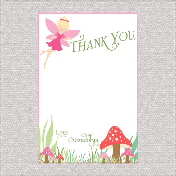 Custom Fairy Birthday Thank You Cards - Pixie Party- Fairy - Party Supplies