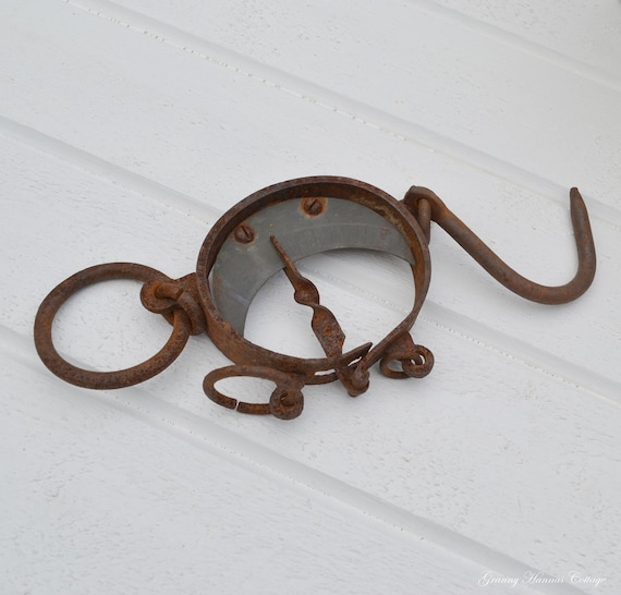 Antique hanging scale  rustic european vintage rust surface