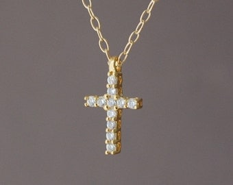 Gold Small Sparkling Cross Necklace also in Silver