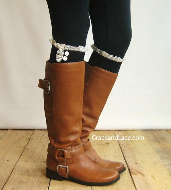 Lace Trim Boot Socks Boot Socks w/ Ivory Lace