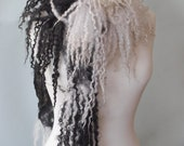 RESERVED - Handmade Nuno Felting Silk Scarf - Hand Felted Wool Fleece