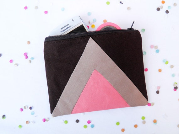"""Small zipper pouch 4,7""""X6"""" geometry color block in brown, camel and coral"""