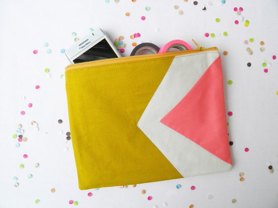 "Large zipper pouch 6""X8""  geometry color block in mustard, beige and coral"