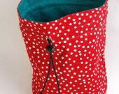 Knitting Project Bag // Red & White Polka Dots