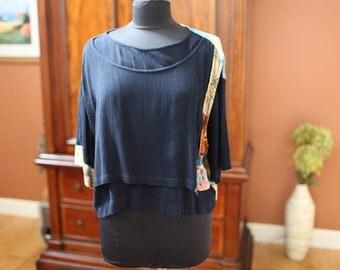 Women's Cropped Black Rayon Blouse