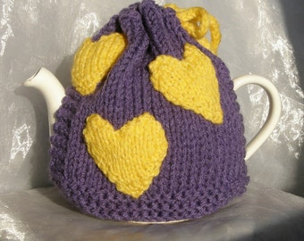 Large Purple Teapot Cosy Yellow Hearts