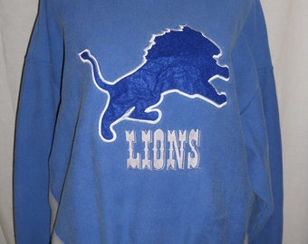 Vintage Sweatshirt Detroit Lions Football Shirt  Blue Men's XL Old School Gift for Him