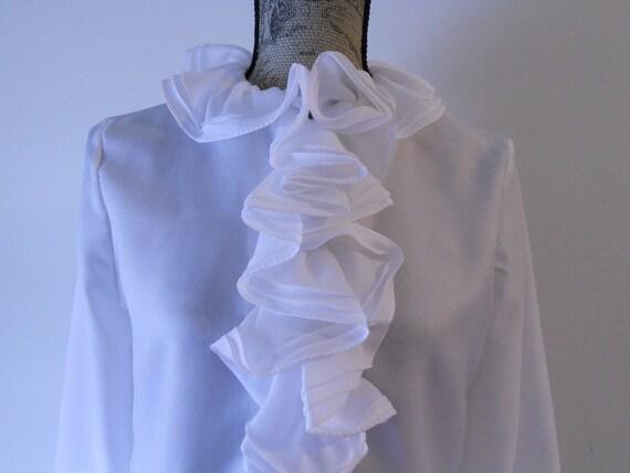 Vintage White Ruffled Blouse Medium