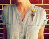 Beautiful Vintage Rose Brooch Bright Yellow