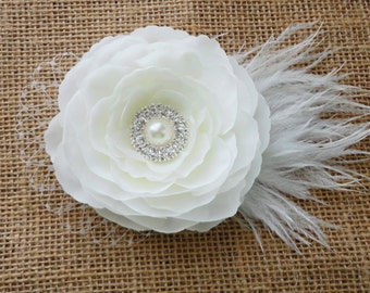 Bridal Soft White Flower Hair Clip w/ Pearl Rhinestone Center w/ Russian Veiling & Feathers - Womens White Flower Clip