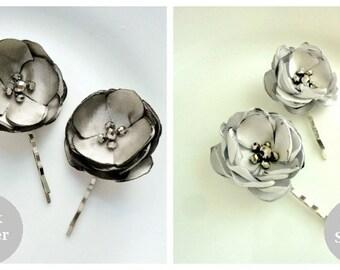 2 Silver Bridal Hair Pin Flower Wedding Hair Pins, Gray Bridesmaid Hair accessories, Grey Flower Hair Clips for Girls, Small Silk Flowers