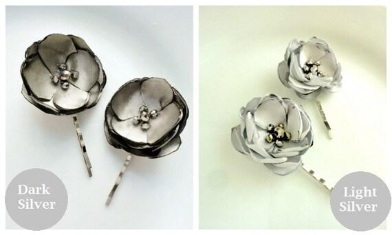 2 Small Silver Hair Pins Wedding Hair Flowers, Satin Fabric Flower Bridal hair Clip, Grey Flower Hair, Gray Bridesmaid Hairpiece, Pearl