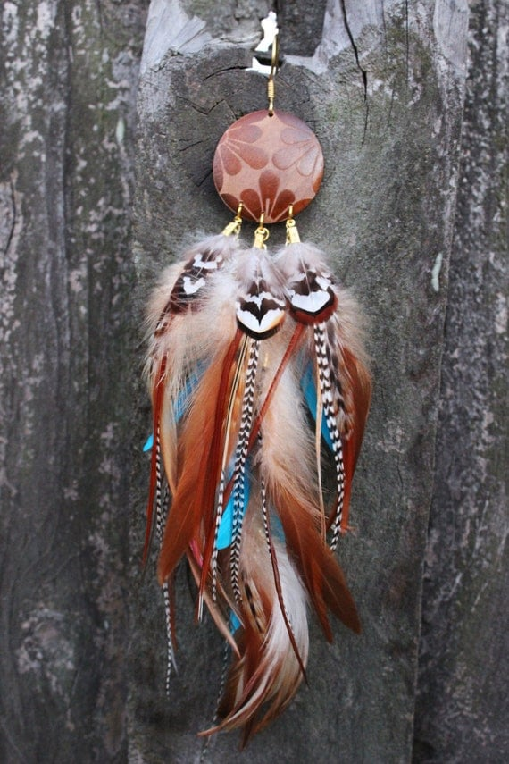LIFE, Beautiful Single Turquoise and Grizzly Feather Earring , Tribal Native Single Feather Earring, Nature Life Inspiration, Bohemian