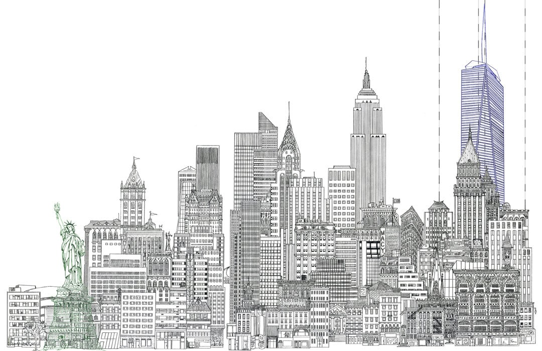 11 x 17 line drawing of new york city skyline with statue of for Disegni new york