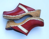 Red Wooden Clogs, Vintage Clogs, Women's Shoes Red, Accessory, 1970 Hipster Chic Gear, Christmas Red,