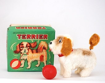 VIntage ALPS Toy Made in Japan Mechanical Terrier, Christmas Gift For Her, 1950's Toy, Mid Century, Under 50,Terrier Dog
