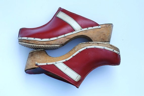 Red wooden clogs vintage women s shoes by