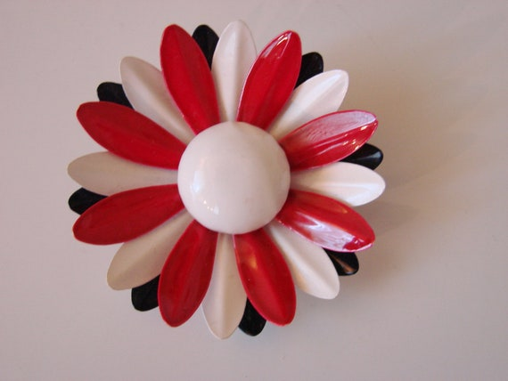 Reserved for Felicity Large 60s Vintage Red/White/Blue Enamel Floral Metal Brooch