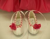 Wedding Shoes Flower Girls Ballerina Hot Pink flowers, white satin ballet slipper style