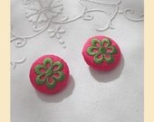 embroidered buttons handmade in pink silk with lime green thread, one pair size 29mm