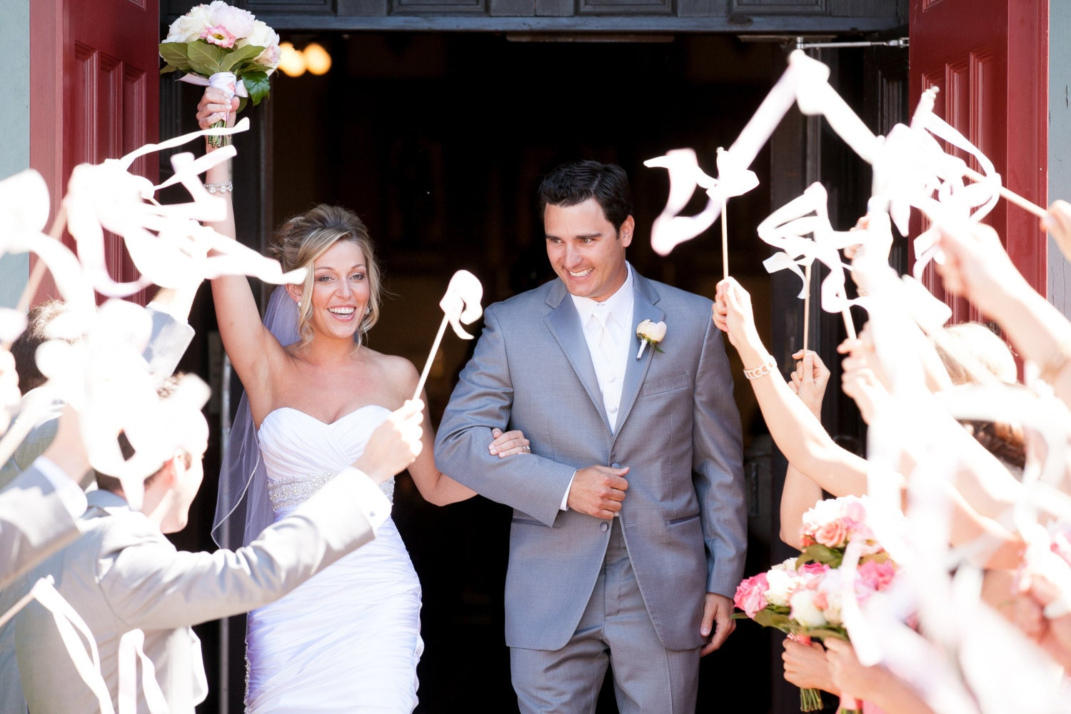 Wedding ribbon wands party streamers set of 100 double for Wedding wands