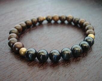 Mens Blue Tiger's Eye Mala Bracelet // Protection & Power Mala Bracelet // Yoga, Buddhist, Prayer Beads, Meditation, Jewelry - Free Shipping