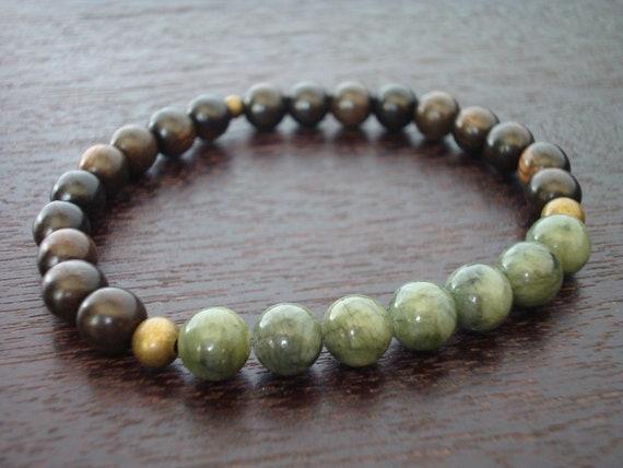 Men's Jade Mala Bracelet // Protection & Prosperity Mala Bracelet // Yoga, Buddhist, Meditation, Prayer Beads, Jewelry