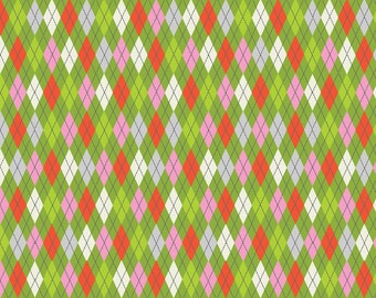 Tinsel - Argyle in Green - Maude Asbury for Blend Fabrics- 1/2 yard, Add'l Avail