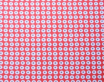Buttons in Red - Havana  Collection - Organic Cotton - Monaluna Fabrics- 1/2 Yard