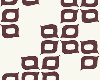 Las Flores in Mahogany - Camp Modern- Birch Fabrics - Organic Cotton - 1/2 Yard