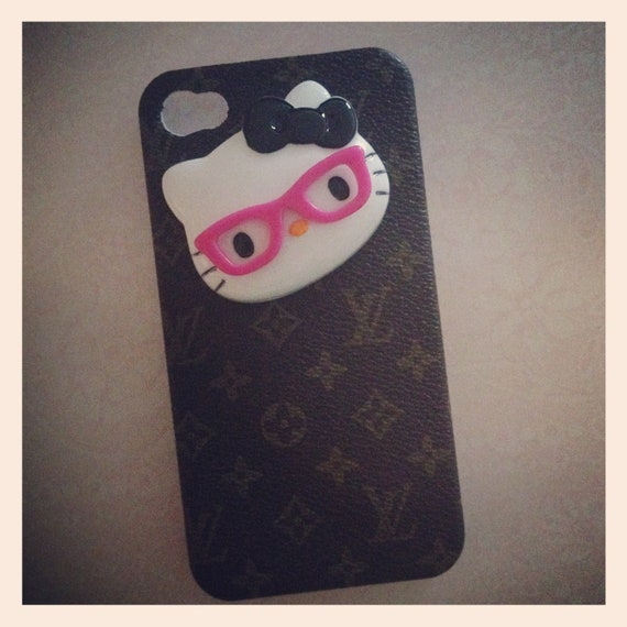 Faux Louis Vuitton iPhone case with Nerdy Hello Kitty