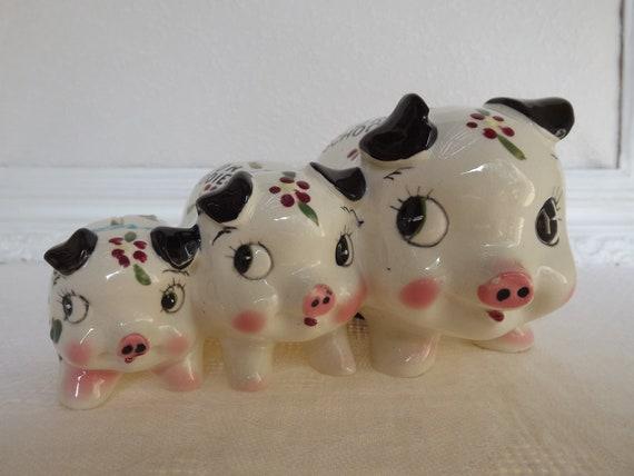 Vintage Three Piggy's Attached Ceramic Bank Circa 1960's