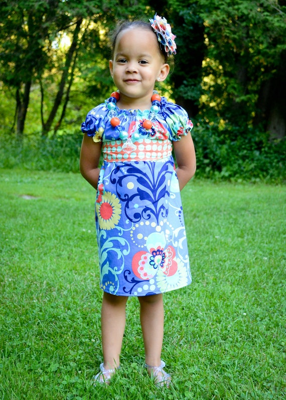 Peasant dress, Blue and orange dress, girls dress, toddler dress, dress-Girls sizes 3 months-6 years