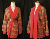 Totally 80's slouchy mohair blend sweater coat with blazingly bright colors